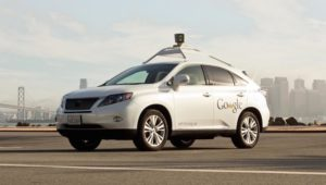 A self driving car on the road